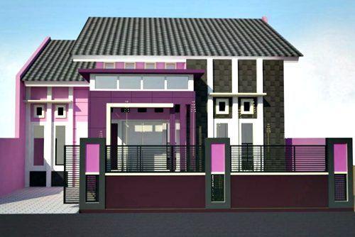 Rumah minimalis bercat pink