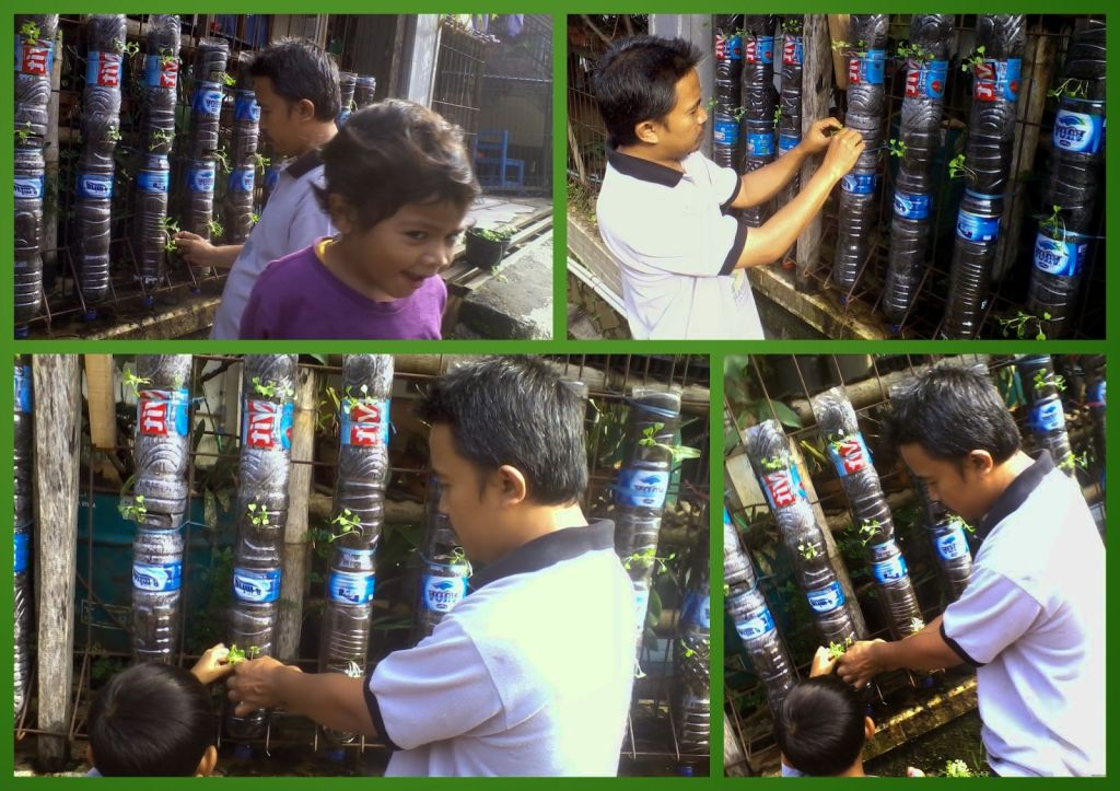 cara membuat taman vertikal dari botol bekas