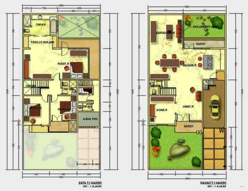 Contoh Denah Rumah Persegi Panjang model rumah tingkat minimalis 2016