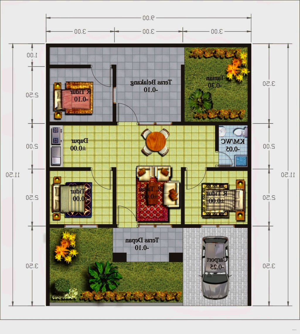 Contoh Denah Minimalis Modern Terbaru Untuk Keluarga Kecil