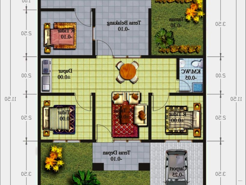 Denah Rumah Untuk Keluarga Kecil 33 Denah Rumah Sederhana 1 Lantai