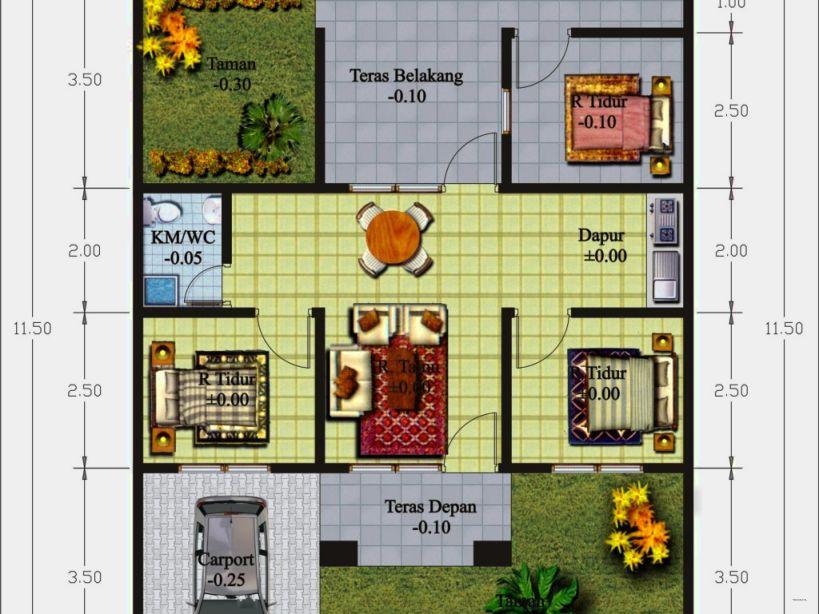 Contoh Denah Rumah Minimalis 3 Kamar Tidur yang Apik