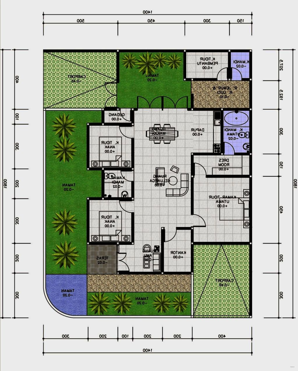 3 Contoh Denah Rumah Minimalis Modern Terbaru: Contoh Denah Minimalis Modern Terbaru Untuk Keluarga Kecil