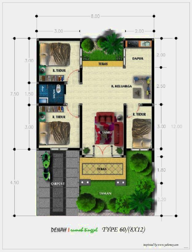 denah rumah minimalis type 60  desain gambar denah rumah minimalis type 60 terbaru