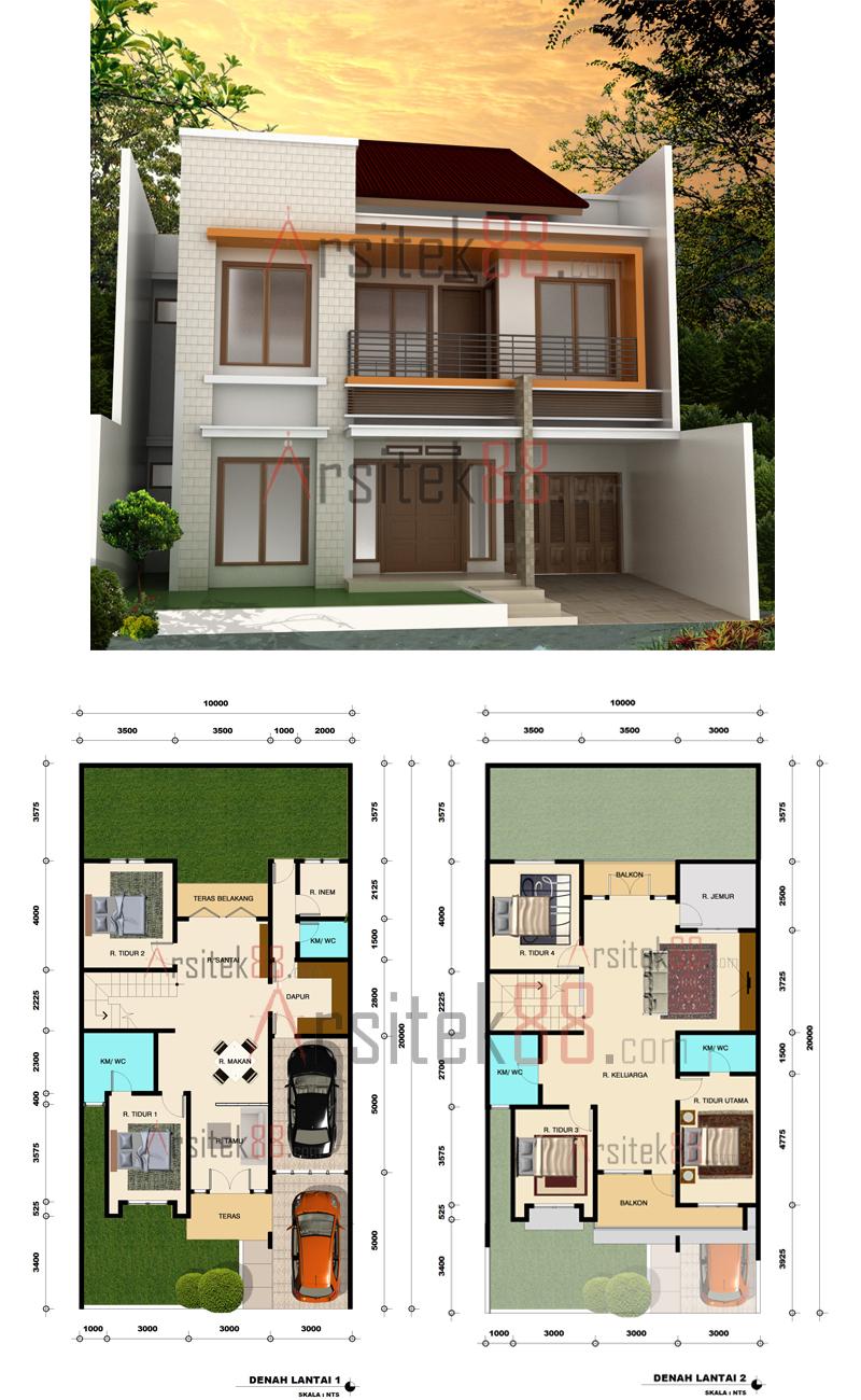 104 Denah Rumah Minimalis Pedesaan Gambar Desain Rumah
