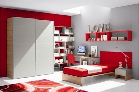 3 desain interior ruangan warna merah, abu-abu, dan putih
